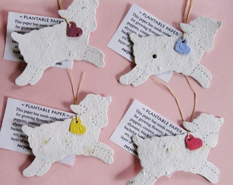 15 Plantable Seed Paper Lambs - DIY Baptism Favors - Christening Favors - White