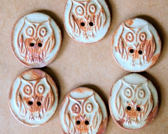 6 Handmade Ceramic Buttons - Owl Buttons in Earthy Rust - Rustic Stoneware Buttons