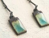 Long Organic Blue Earrings - Turquoise and Black Enamel Rectangle Earrings