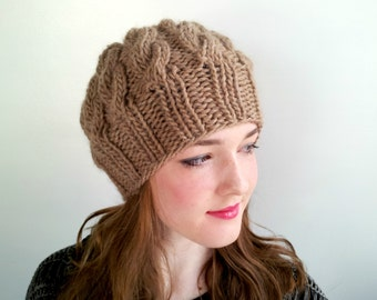 Camel Handknit Hat in Alpaca and Wool. Cabled, Chunky. Cozy Winter Hat.