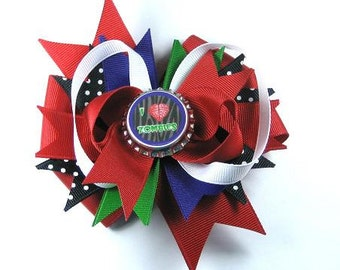 Boutique Bottle Cap Hair Bow Clip-Red Purple Black I love Zombies