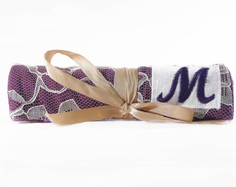 Gift Under 50- Travel Jewelry Roll with Monogram  - Champagne Lace Purple Choose Your own Monogram - Jewellery Organizer Holder Pouch