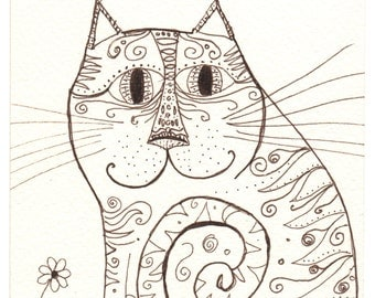 Ink Drawing - whimsical and dreamy cat - original