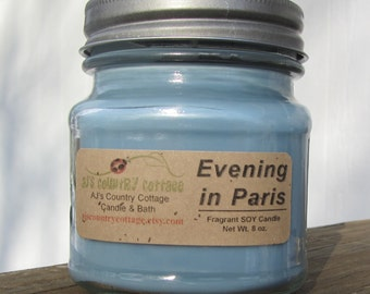 PARIS EVENING SOY Candle - Highly Scented - amber, flowers, fruit, vanilla, lavender