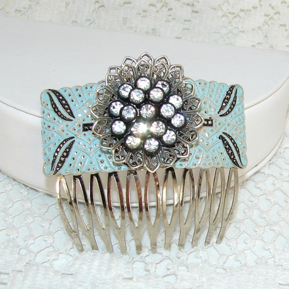 Rhinestone Hair Comb Blue Black Silver 1950s Vintage Costume Jewelry Accessory Faux Marcasite