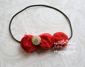 Love Me Tender - Silk Headband, Red Handmade Flowers, Baby Headband, Photo Prop
