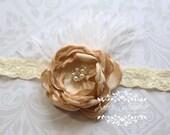 Vintage Romance - Champagne Headband, Beige Headband, Vintage Inspired Headband