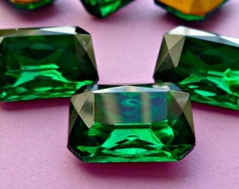 Two 18x13mm Czech Emerald Octagon Vintage Glass Rhinestone Jewels (12-11F-2)