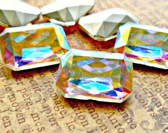 Two 18x13mm Crystal AB Octagon Glass Rhinestone Jewels (13-1B-2)
