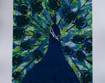 Blue Peacock Limited Edition Print from Original Painting Collage