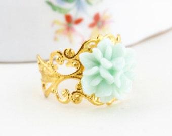 Mint Green Flower Ring, Gold Ring With Green Flower, Vintage Style, Gift For Woman, Valentines Gift