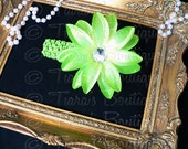 Green Headband Photo Prop for Girls and Babies - Lime Green Lily Headband - Flower Headband Made to Match Your Tutu