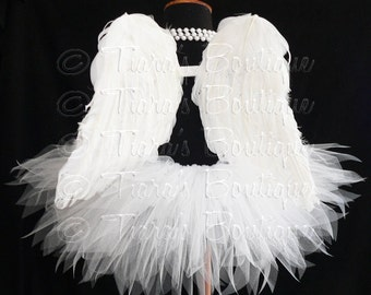 "Angel Tutu Costume, Girls Tutu, Angel Tutu, White Tutu, Tutu and Wings, 13"" Tutu and Angel Wings, Valentine's Day Tutu Set, Christmas Angel"