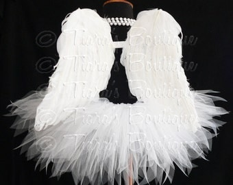 "Angel Tutu Costume - 13"" Tutu and Angel Wings - For Girls - Valentine's Day"