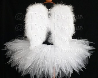 "Angel Tutu Costume - 13"" Tutu and Small Angel Wings - For Girls - Valentine's Day"