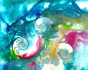 """Sea Shell Painting, Watercolor Art, Nautilus Shell, Ocean Art, Abstract Original """"Sea Jewels No. 15"""" by Kathy Morton Stanion EBSQ"""