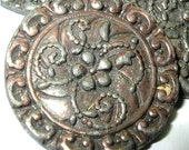 Antique Sam Biern Buttons Cast Metal Floral Motif Signed Collectible NBS Medium Ca 1930s