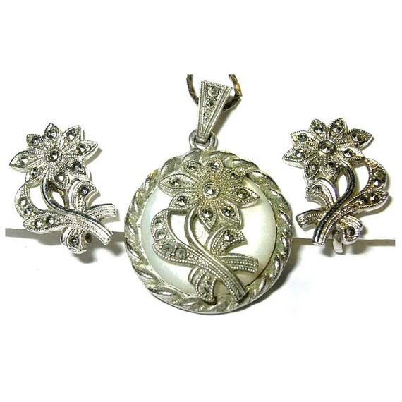 Antique Jewelry Demi Parure Book Piece Rhodium Plated SS Marcasite MOP