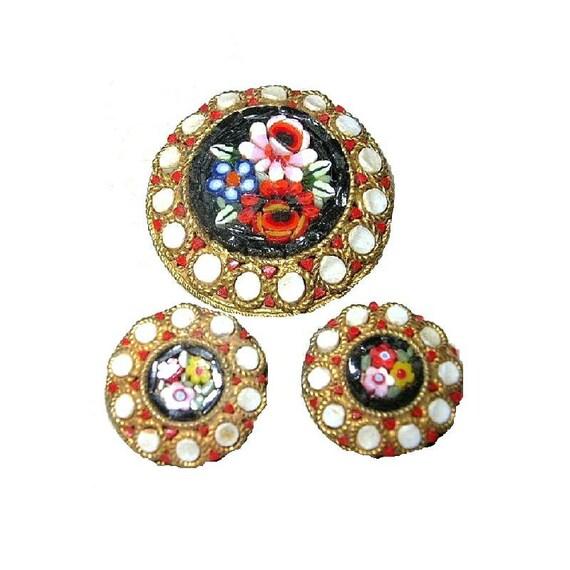 Vintage Micro Mosaic Demi Parure Brooch Earrings Floral Motif