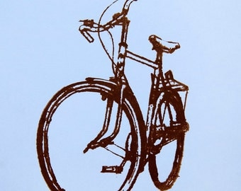 Bike Art Print - Crescent Bicycle on Blue 29