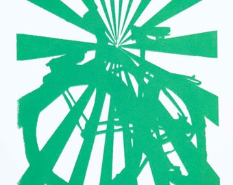 Bicycle Art Print - Cruiser Bike Starbust Print in Green