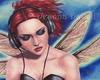 Punk Fairy Art Fantasy Art Print Music Fairy Headphone Fairy Faerie Art5x7