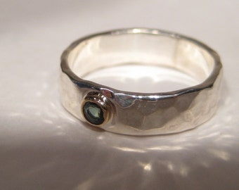 Tealy Green  Sapphire on a  Medium Sterling Silver Hand Hammered Band set in Gold  ... made to order in your size... e433