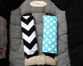 Cute Black Chevron and Ocean Ta Dot Car Seat Strap Covers