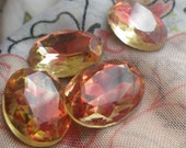 Givre Vintage Rose and Jonquil Faceted 18X13mm Oval Glass Jewels 4 Pcs