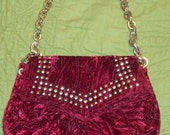 What a Funky CRUSH Velvet and STUDDED Embellished Vintage Bag
