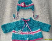 Hand knitted boutique style Baby girl lovely sweater with matching earflap hat. So CUTE