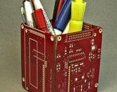 Recyced RED Circuit Board PENCIL BOX Office Geekery pb6