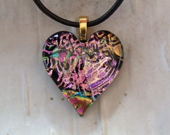Heart Pendant, Dichroic Jewelry, Heart, Necklace, Pink, Gold, Necklace Included, One of a Kind