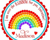 Valentines day Stickers, Rainbow stickers, polka dots,Hearts,Red,Love, Sweet, Candy,Treats, Labels,  set of 12