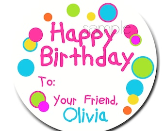Personalized birthday stickers, HOT COLORS, Gift, Stickers, Birthday, Present, Polka Dots, Labels, Seals, Kids, Children