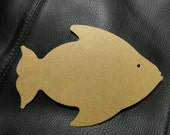 Large Fish Die Cut from Kraft Chipboard 5.25 x 3.5 Tall  Pack 4