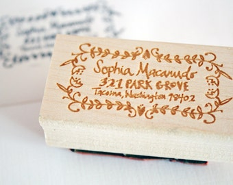 Sophia Hand Drawn 1 x 2 inch Rubber Address Stamp with Decorative Border