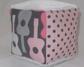 Pink Groovy Guitars Fabric Block Rattle
