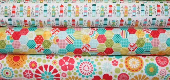 3 Fat Quarters So Happy Together by Deena Rutter Riley Blake Discount Designer Fabric