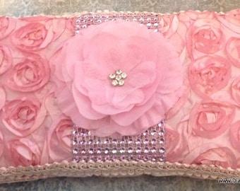 Pink ROSETTE Travel Wipe Case for baby shower GIFT rhinestone FLOWER