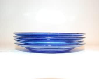 four 4 small salad Hazel Atlas  cobalt blue glass plates