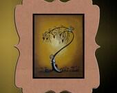 Whimsical Art Print -- Creeper - Hedgehog - Owl - Tree - Hearts -- Art  Print Giclee - 8x10 -- Hide and Seek