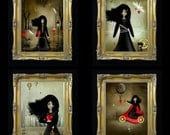 Dark Valentines - Steampunk Art - Mini-Print Set of 4 --- Steampunk Love