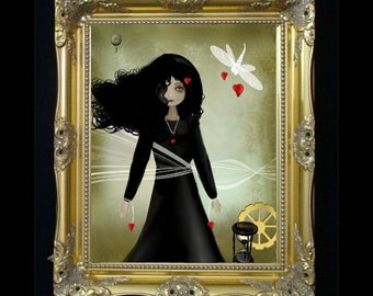 Steampunk Art - Dark Valentine -  Seasonal Art Print - Bound by Love - Valentines Day