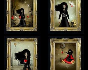 Dark Valentines - Steampunk Art - Mini-Print Set of 4 --- Steampunk Love