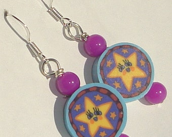 happy star faces with purple beads polymer clay pierced dangle hand made wire wrapped whimsy earrings by Ziporgiabella