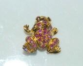 Vintage Frog Pin, Pink Rhinestones, Brooch Gold Tone