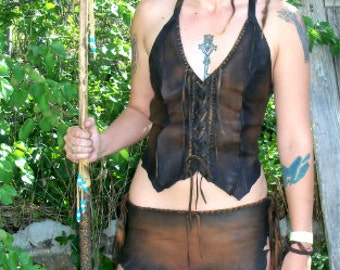 Leather Primitive Halter and Loincloth Medieval KHALEESI Fairy Renaissance Game Of Thrones Corset Custom Handmade by Debbie Leather