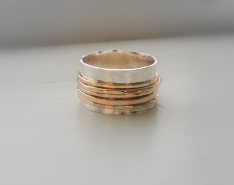 Sterling Gold Spinner Ring gold fiddle ring wide band ring SR115