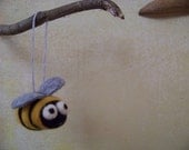 Reserved for Lina..Needle Felted Bumble Bee Spring or Easter Ornament